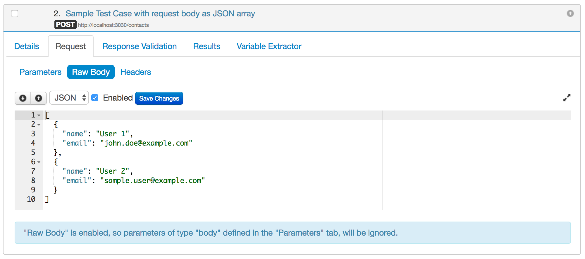 Validating json requests