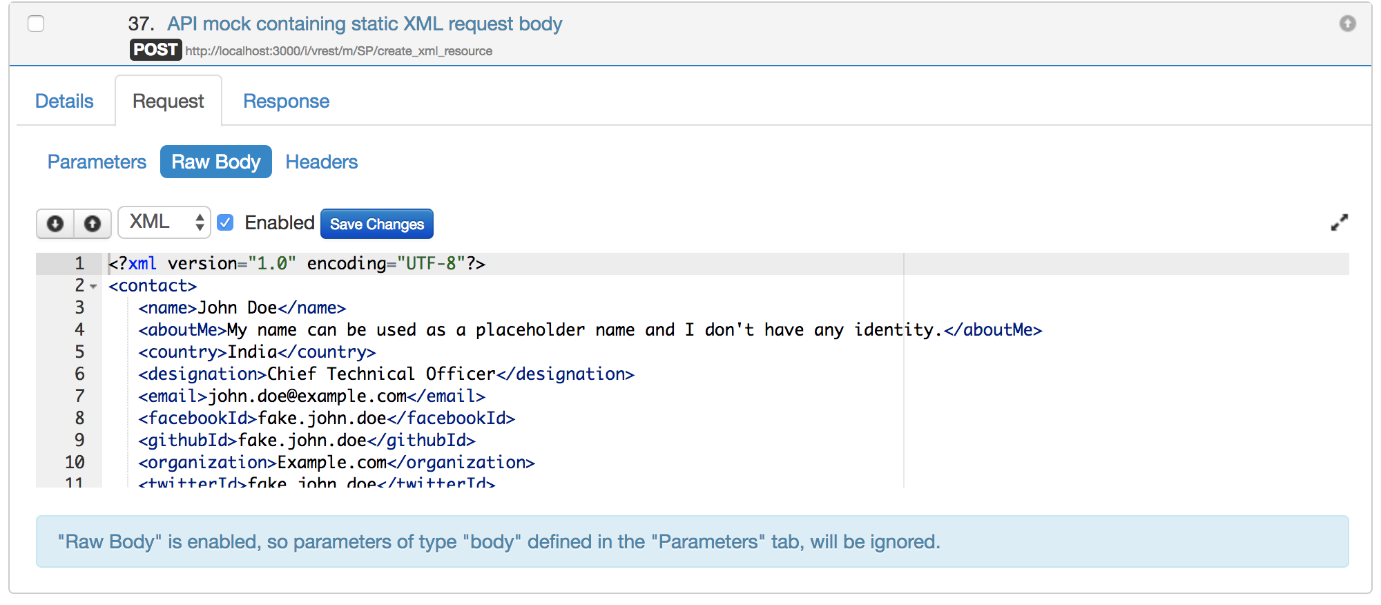 XML request body comparisons in Mock Server - vREST Documentation